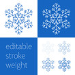 Blue snowflake icon - a symbol of winter holidays, Christmas and New year, cold weather and frost - isolated on white background. Elegant vector design element with editable stroke weight.
