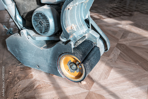 Obraz professional grinding machine for parquet - fototapety do salonu