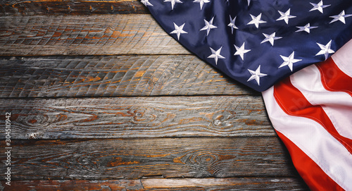 United States Flag On wooden background or backdrop, copyspace for your individual text Fototapet