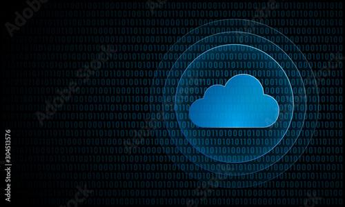 Obraz Digital cloud computing with ripples ''Pulse Effect'' technology symbol - fototapety do salonu