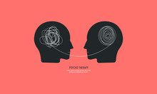Two Humans Head Silhouette Psy...