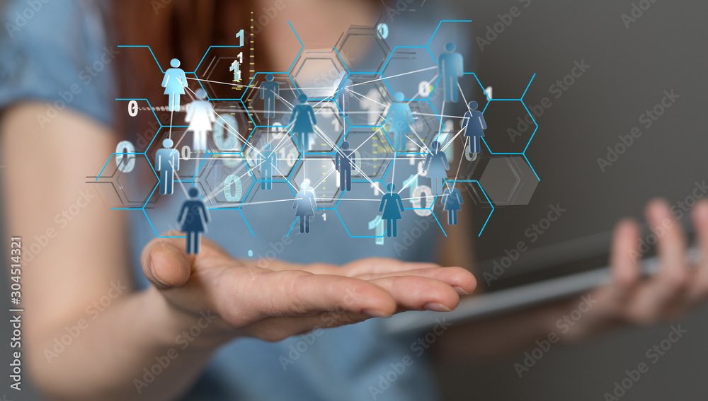 Fototapeta business, people, communication, social network and technology concept