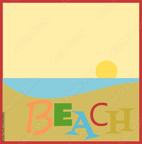 Beach design with sun and copy space #304518156