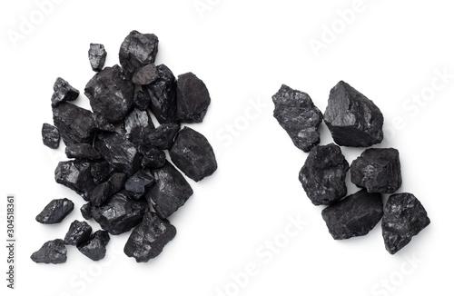 Photographie Black Coal Pile Isolated On White Background