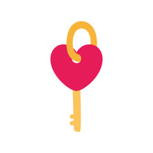 Isolated Heart Key Vector Design