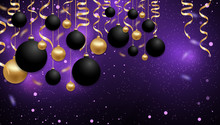 Christmas And New Year Background Or Decoration With Black And Gold Baubles Balls And Golden Ribbons. Xmas Purple Background. Vector