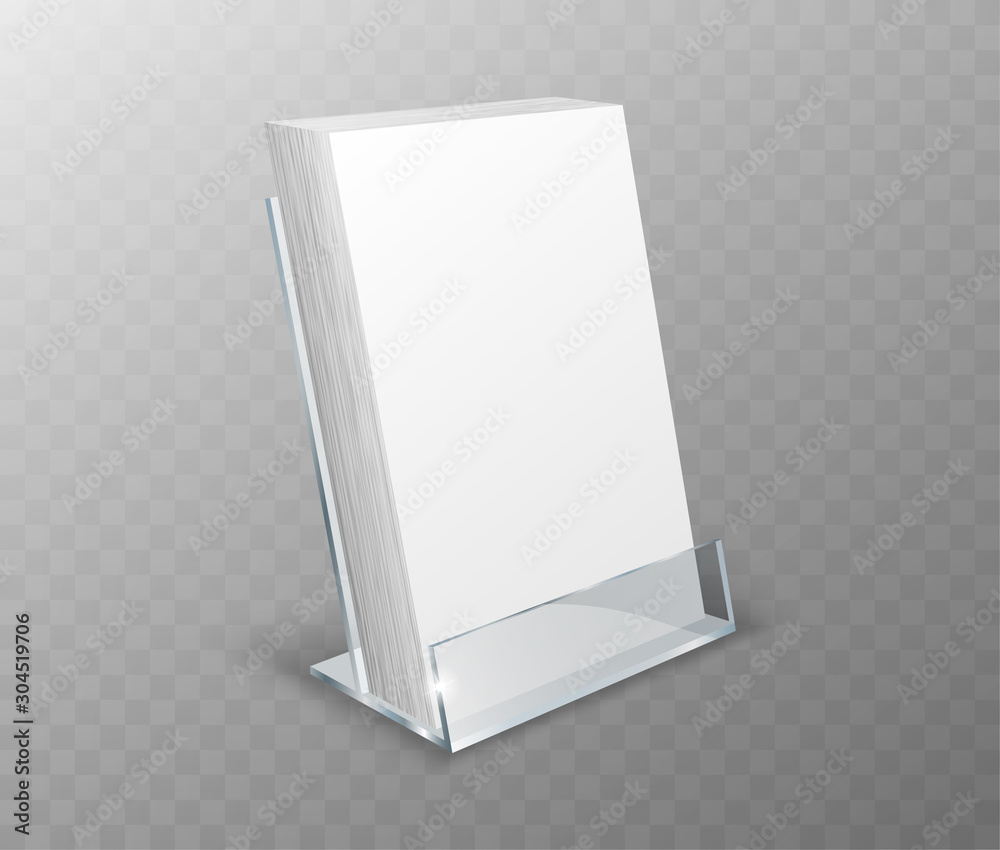 Fototapeta Acrylic holder, table display, glass plastic stand or desk rack with blank cards, realistic vector illustration. Clear desk holder, office organizer isolated on transparent