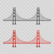 Vector illustration. Golden Gate Bridge on a white background. Flat style.