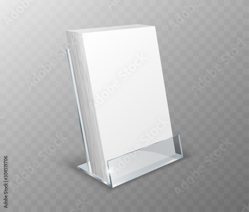 Valokuva Acrylic holder, table display, glass plastic stand or desk rack with blank cards, realistic vector illustration