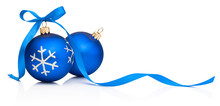 Two Blue Christmas Decoration Bauble With Ribbon Bow Isolated On White Background