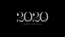 Happy New Year 2020 Line Drawing Typography. Cover Of Business Diary For 2020 With Wishes. Brochure Design Template, Card, Banner. Vector Illustration. Isolated On White Background. Merry Christmas.