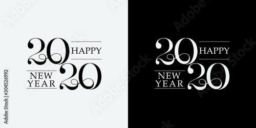 Valokuvatapetti Happy New Year 2020 line drawing typography