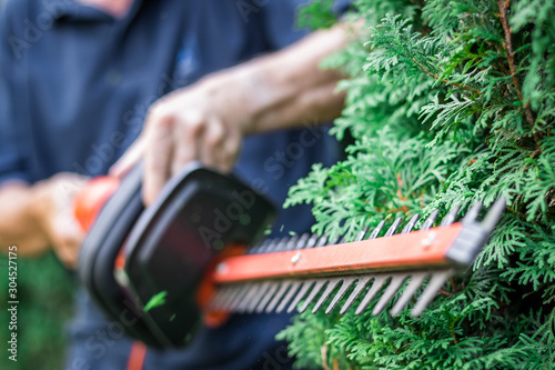 Gardener trimming overgrown green bush by electric hedge clippers. Selective focus, motion blur