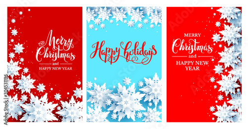 Fotobehang - Holiday Chrismas festive cards set