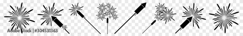 Fotografia, Obraz  Fireworks Icon Black | Firecracker | New Year Symbol | Pyrotechnics Logo | Firew