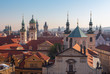 Prague - The Old Town from east tower of Charles bridge with the Klementinum - St. Salvator church..