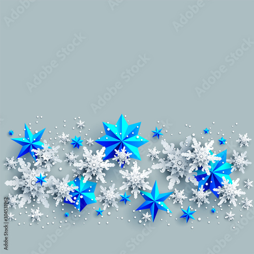 Fotobehang - Blue Shine winter decoration with snowflakes