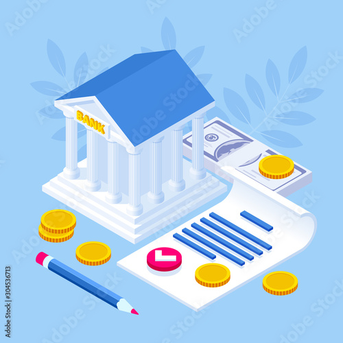 Isometric concept of banking loan, money loans Poster Mural XXL
