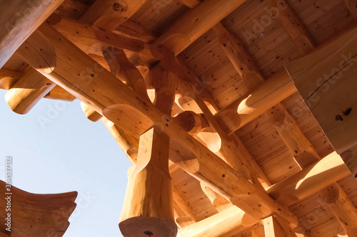 Photo Details and elements of wooden house made of timber. The constru