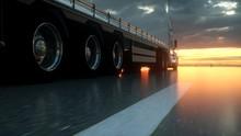 Semi Truck Wheels Closeup On Asphalt Road Highway At Sunset - Transportation Background. 3d Rendering