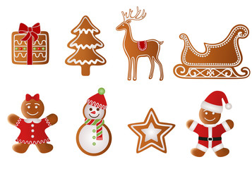 christmas gift, tree, reindeer, sled, girl, snowman, star and  santa claus gingerbread  vector