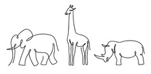 Thin Line Elephant, Rhino And ...