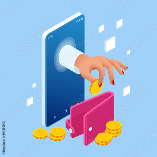 Fototapeta Saving Money Isometric concept. Cashback and Saving Money Concept. Money Refund. Digital Payment or Online Cashback Service. Electronic invoice. obraz