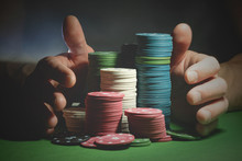 Male Hands And Poker Chips Clo...
