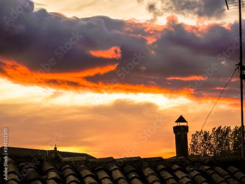 anochecer entre las nubes Canvas Print
