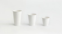 Three Paper Cups In Line Small Medium Large