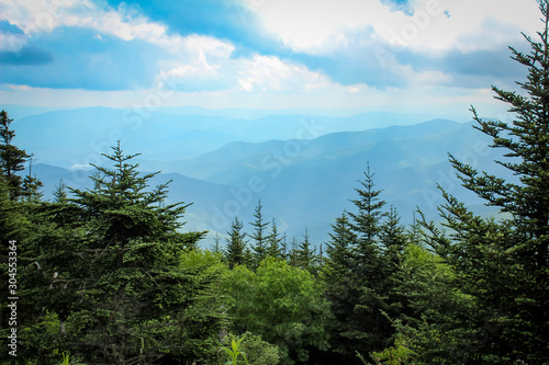 Wallpaper Mural Vivid Sunny Day Over the Great Smoky Mountains