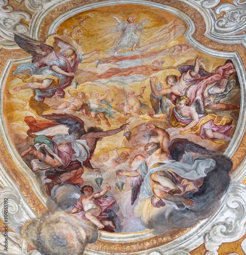CATANIA, ITALY - APRIL 7, 2018: The vault fresco of Apotheosis of Saint Benedict in church Chiesa di San Benedetto by Giovanni Tuccari (1667–1743).