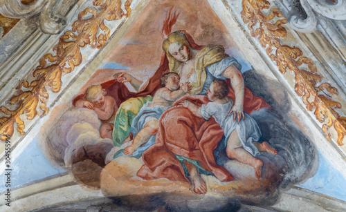 CATANIA, ITALY - APRIL 7, 2018: The fresco of Cardina Virtue of Love in church Chiesa di San Benedetto by Sebastiano Lo Monaco (1750 - 1800).