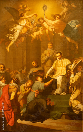 CATANIA, ITALY - APRIL 7, 2018: The painting of St. Francis Caracciolo at the founding of Order of Friars Minor in church Chiesa di San Domenico by Marcello Leopardi (1795).