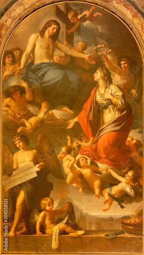 CATANIA, ITALY - APRIL 7, 2018: The coronation of St. Agatha in church Chiesa di San Domenico by Marcello Leopardi (1793).