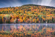 Cabin At The Lake In Autumn Co...