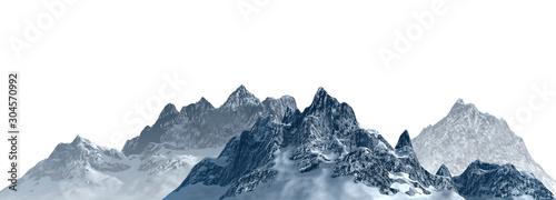 Fototapeta Snowy mountains Isolate on white background 3d illustration obraz