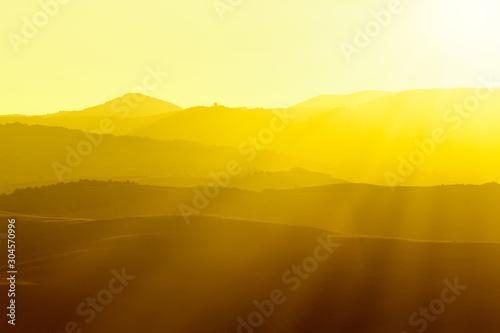 Montage in der Fensternische Honig Tuscan hills at sunrise. Typical rural landscape. Tuscany, Italy
