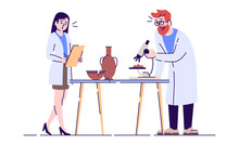 Laboratory Analysis Flat Vector Illustration. Archeological Artifacts Analyzing. Scientist Researching Pottery Isolated Cartoon Characters With Outline Elements On White Background