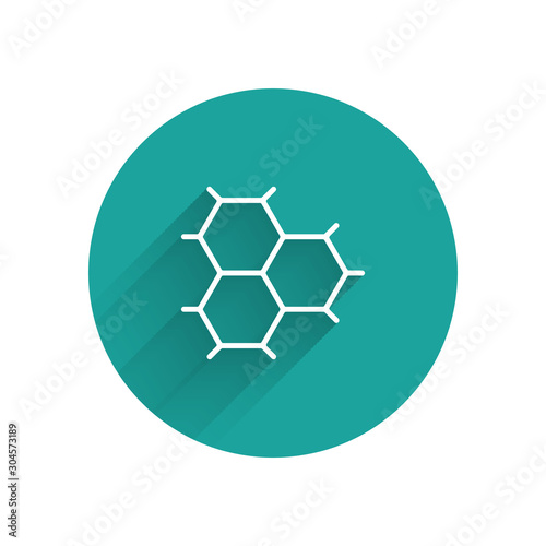 White Chemical formula consisting of benzene rings icon isolated with long shadow Canvas Print