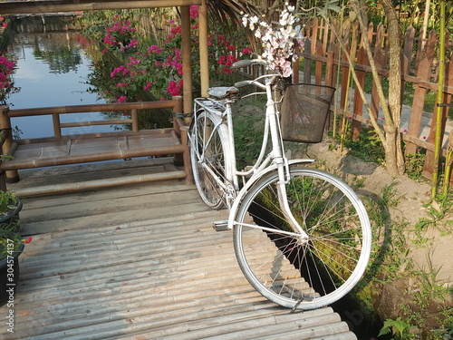 Recess Fitting Bicycle bicycle with flower