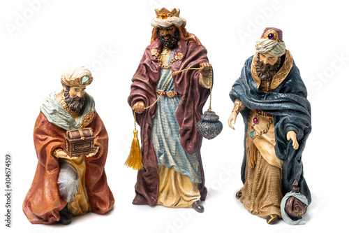 Photo Three Wise Kings Ceramic Figurines	 on white background