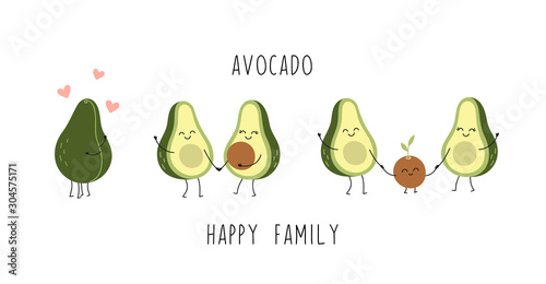 Obraz na plátne Cute avocado characters, couple in love, young parents, little baby, happy family
