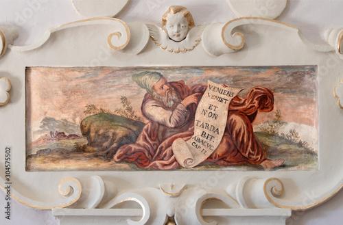 TAORMINA, ITALY - APRIL 9, 2018: The fresco of prophet Habakkuk church Chiesa di San Guseppe.