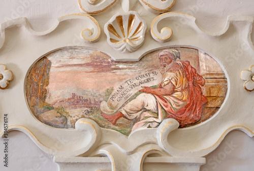 TAORMINA, ITALY - APRIL 9, 2018: The fresco of prophet Haggai church Chiesa di San Guseppe.