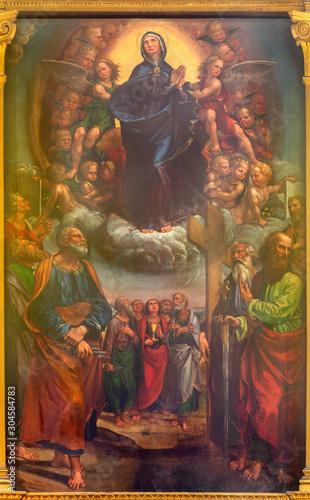 MODENA, ITALY - APRIL 14, 2018: The Assumption of Virgin Mary in church Chiesa di San Pietro by Gian Gherardo dalle Catene (1482-1542).