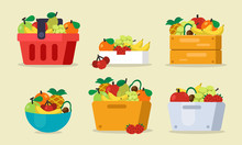 Set Of Fruits With Basket, Bag...