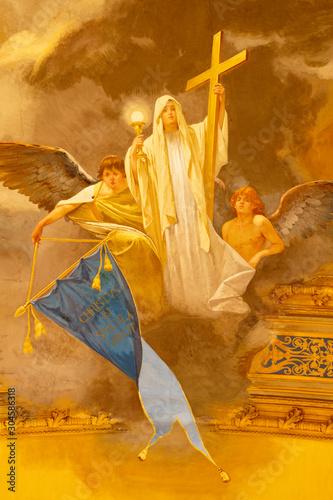 ACIREALE, ITALY - APRIL 11, 2018: The fresco of cardinal virtue of Faith in Duomo - cattedrale di Maria Santissima Annunziata by Giuseppe Sciuti (1907).