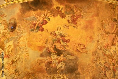 ACIREALE, ITALY - APRIL 11, 2018: The Glory of St. Venera fresco on the ceiling of Duomo - cattedrale di Maria Santissima Annunziata by Pietro Paolo Vasta (1737).