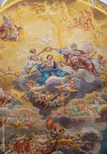 ACIREALE, ITALY - APRIL 11, 2018: The fresco of Coronation of Virgin Mary on the ceiling of Duomo by Paolo, Gaetano and Antonio Filocamo (1711).